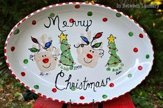 Child's handprint and footprint Christmas plate