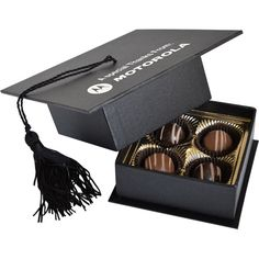 Graduation Cap Box with 4 Truffles - Graduation Cap Box with 4 Truffles