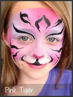 pink tiger face painting by mimicks