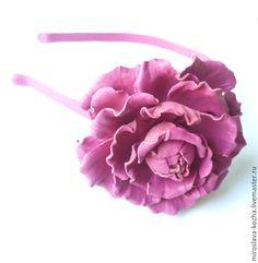 Купить Ободок для волос из кожи - коралловый, фуксия, ободок для волос, ободок с цветком, ободок для девушки