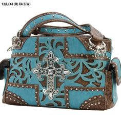 The Rustic Shop - Turquoise Blue Western Tooled Brown Leatherette and Rhinestone Cross Handbag Purse, $49.99 (http://www.rusticflairpro.com)