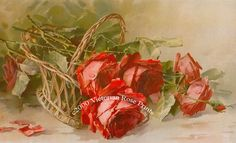 French Roses Print Tipped Basket Catherine by VictorianRosePrints