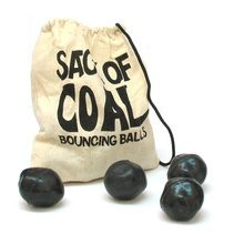 This sack of coal is actually a bag of 12 oddly shaped bouncy balls.  This is a perfect Christmas stocking stuffer.