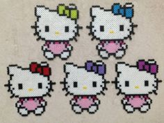 Hello Kitty with Custom Bow Color Perler Beads by EightBitEvolution
