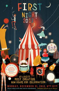 "Not sure if we want to go down the whole ""Circus' route, but this illustration style could be a nice way to tie it in. Even if its just a cheeky tent..."