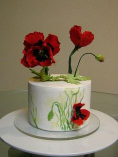 My Hand Painted Poppy Cake from Erin Schaefgen's Craftsy Class The Hand Painted Cake