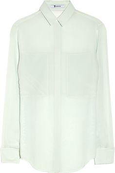 T by Alexander Wang|Paneled silk blouse|NET-A-PORTER.COM