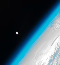 The moon and Earth's atmosphere as seen from the International Space Station