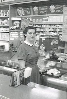 Drug store and soda fountain, unknown source. I liked the cherry 7UP.