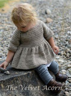 Ravelry: Rufflyn Cardigan Dress pattern by Heidi May - Worsted Crochet Baby Knitting For Kids, Crochet For Kids, Baby Knitting, Loom Knitting, Free Knitting, Crochet Cardigan Pattern, Knit Crochet, Crochet Hats, Crochet Granny