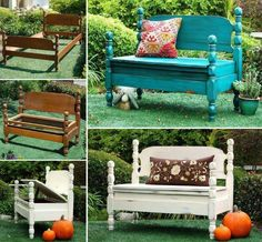 Upcycle an old bed into a fabulous new bench with storage.