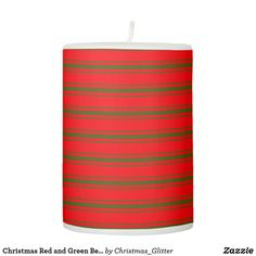 Christmas Red and Green Bedding Stripes Pillar Candle Christmas Candles, Christmas Holidays, Green Bedding, Pillar Candles, Candle Holders, Stripes, Lights, Nice, Create