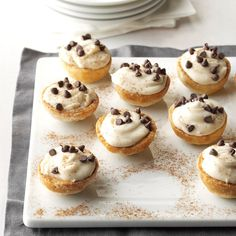 Black Bottom Brandy Bites Recipe -The idea for these bite-sized tarts started with little chocolate bottles of brandy. For an extra dash of fabulous, I place chocolate in the bottom of each pastry cup. Mini Pie Recipes, Muffin Tin Recipes, Dessert Recipes, Luncheon Recipes, Luncheon Menu, Muffin Tins, Tart Recipes, Chef Recipes, Sweet Recipes