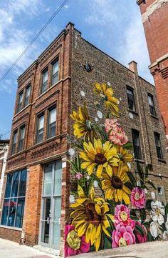 """Ami We on is part of Urban art graffiti - City Westtown , Chicago , Illinois ,USA streetart urbanart westtownchicago (Ph crumbsinmystache)"""" Murals Street Art, Street Art Graffiti, Graffiti Wall Art, Mural Wall Art, Graffiti Wallpaper, Graffiti Painting, Flower Graffiti, Graffiti Images, Flower Mural"""