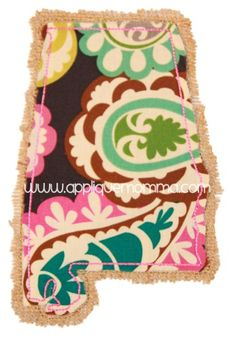 Shabby Alabama Applique Design. I am going to do this on some kitchen towelsz