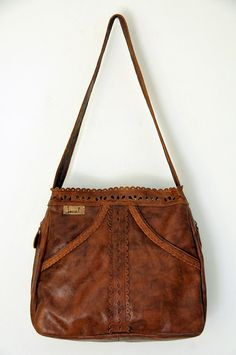 Really want this one to replace my old bag. LAMOUR. Leather tote bag / shoulder bag. $180 in dark tan with green batik