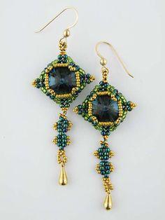 Beading Tutorial  Squared Crystal Earrings by KellyWiese on Etsy, $6.00