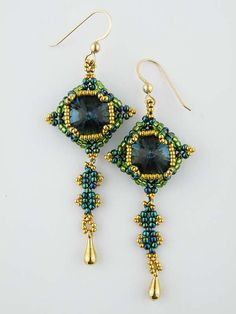 Squared Crystals Earrings Size 11 and size 15 seed beads, 14mm crystal rivoli's, drop beads or charms