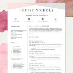 Resume Template for MS Word | LOUISE | 1 & 2 Page Resume, Cover Letter, Reference Sheet and Cover Letter  | Instant Download