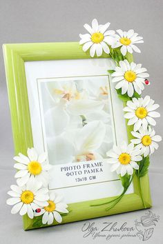 cold porcelain Photo frame with daisies