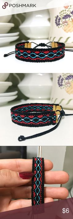 2 for $9 ⇨ Boho Woven Bracelet Add to BUNDLE & make me an OFFER: 2 for $9 ⇨ 3 for $12 ⇨ 4 for $16 ⇨ 5 for $20 (Get FREE bracelet!)  •Handmade using a loom by skilled Ecuadorian  artisans!  •Handwoven with black & hot pink (borders), sky blue & white wool thread. Finished with a nylon thread closure knot for a secure fit. (Very soft & light weight feel on wrist)  •ⓢⓘⓩⓔ: Adjustable knot! (Fits 5 in. to 8.5 in. wrist)…