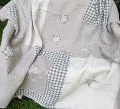 GREY STERNE Tages Decke Grau Weiß Kariert 230x260 Patchwork Plaid Clayre&Eef