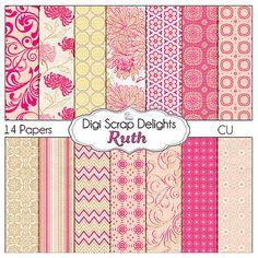 Ruth Digital Scrapbooking Paper Pack Textured by DigiScrapDelights, $3.00  Textured Pink, Beige Chrysanthemum, Chevron Patterns