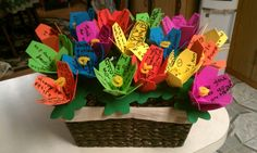 Foam flowers- thank you gift basket. Great gift idea for a class to say thanks to a helper.
