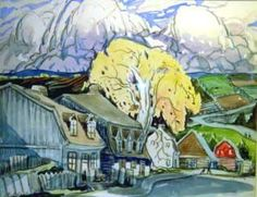 Maisons et grand arbre (c.1940) - Marc-Aurèle Fortin Beautiful Landscape Paintings, Landscape Art, Abstract Paintings, Marc Chagall, Canadian Painters, Canadian Artists, Painter Artist, National Art, Fine Art