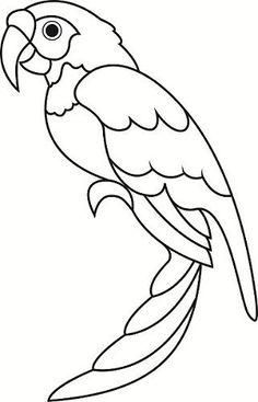 Parrot pattern. Use the printable outline for crafts, creating