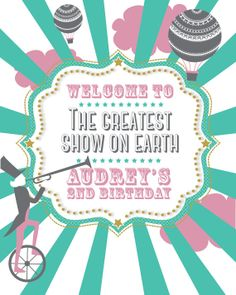 Vintage Girly Circus Party Welcome Sign by PeachAndLimeStudio, $10.00