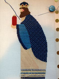 Jewels, beard, and face done      Sleeve done      Gown in progress      Overview   He is coming along. The jar is also started. The ...