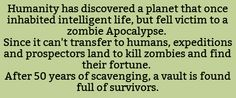 maybe some form of zombie-like alien race instead? what if earth was the planet that fell to the zombie-aliens?