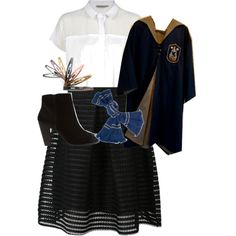 Designer Clothes, Shoes & Bags for Women Ravenclaw, Hogwarts, Polyvore Fashion, Calvin Klein, Bell Sleeve Top, Student, Costumes, My Style, Stuff To Buy
