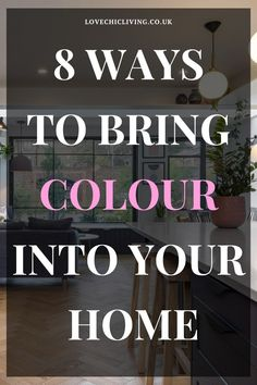 Want to design a bright & bold home? Here are 8 ways to bring colour into your home interior design. Be brave and use coloured wallpaper or add a more subtle hint of colour with colourful home accessories. This guide will show you the best ways to add a splash of colour to your family home Kitchen Colour Schemes, Room Color Schemes, Room Colors, Wall Colors, House Colors, Modern Family, Home And Family, Fluffy Cushions, Curtains With Blinds
