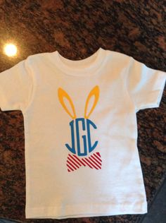 Jaxson first easter shirt Easter Party, Easter Gift, Easter Crafts, Easter Bunny, Monogram Shirts, Easter Outfit, Silhouette Cameo Projects, Cricut Creations, Baby Sewing
