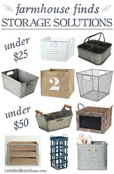 Farmhouse Style Storage Solutions   http://LittleRedBrickHouse.com