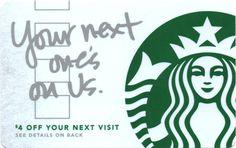 Next One's On Us Starbucks Card - Closer Look! Starbucks Rewards, Starbucks Gift Card, Drink Ticket, Ticket Design, Cool Stickers, Gift Vouchers, Closer, Gift Cards, Design Ideas