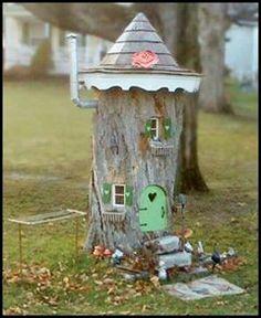 Fairy garden tree stump