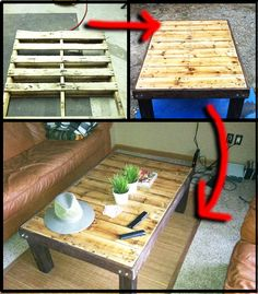 How To Make a Wooden Pallet Coffee Table | DIY Home Hacks - stain using leftover coffee every morning for a month