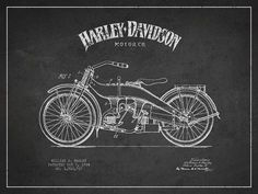 Harley Davidson Motorcycle Patent Drawing From 1924