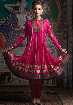 Embroidered Pink Anarkali Suit Set