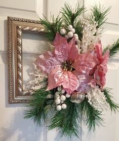 Decorated picture frame wreath for a garden club fundraiser. Good luck to my friends. Picture Frame Wreath, Picture Frames, Holiday Wreaths, Holiday Decor, Garden Club, Frame Crafts, Fundraising, Friends, Winter