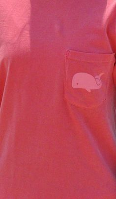WATERMELON POCKETED TONAL WHALE LONG SLEEVE TEE  Cute T-shirts for change