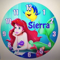 Personalized Little Mermaid Wall Clock on Etsy, $19.99