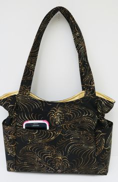 Black Gold Purse, Fall Winter Bag, Gold Design Handbag, Quilted Cotton Purse, Tote Bag, Diaper Bag, Shoulder Bag, Fall Purses, Fabric Purse by JustBeautiful161 on Etsy
