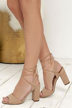 Chic Natural Heels - Vegan Leather Heels - Lace-Up Heels - $26.00