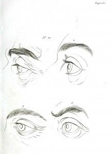Eye anatomy. L'art de connaître les hommes par la physionomie (1835), Tomb Deux, D'une histoire Anatomique et Physiologique de la Face. Gaspard Lavatar. Scan of 2 d image in the public domain believed to be free to use without restriction in the US.