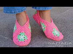 How to Crochet Granny Square Slippers - DIY Tutorial Soft Shoes Booties Bedroom Slipper for Adults - YouTube