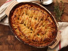 Combine the premise of a potato gratin with Hasselback roast potatoes for the ultimate creamy-in-the-middle, crispy-on-top casserole.
